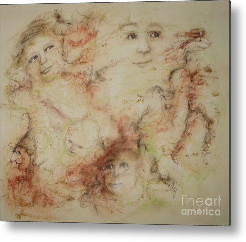 Elves Metal Print featuring the drawing The Elfin Dash by Stephanie H Johnson
