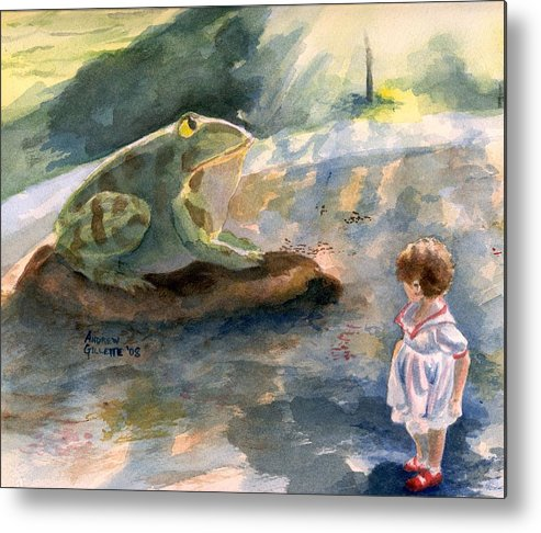 Child Metal Print featuring the painting The Magical Giant Frog by Andrew Gillette