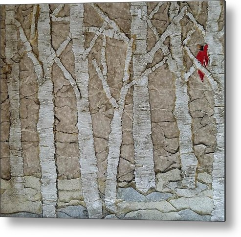 Birch Trees Metal Print featuring the mixed media The Visit by Renae Baumgart