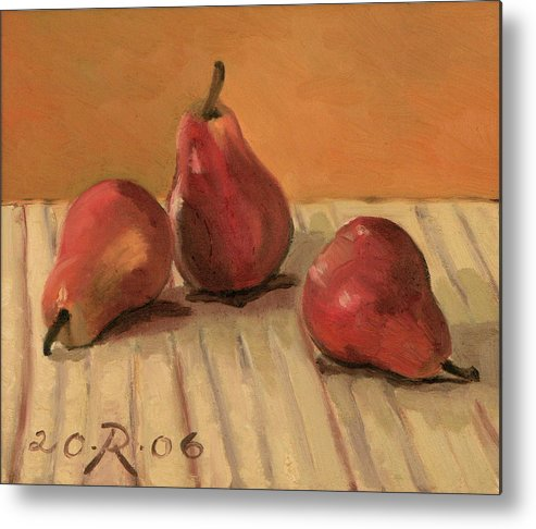 Still-life Pears Red Gold Metal Print featuring the painting Three Red Pears by Raimonda Jatkeviciute-Kasparaviciene