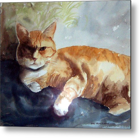 Cat Metal Print featuring the print Toby The Best Cat Ever by Anne Trotter Hodge