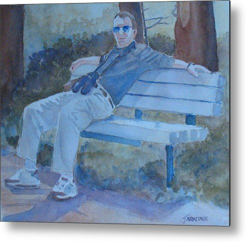 Tourists Metal Print featuring the painting Tourist At Rest by Jenny Armitage