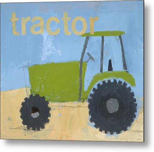 Tractor Painting Metal Print featuring the painting Tractor by Laurie Breen