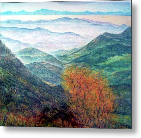 Landscape Metal Print featuring the painting View From The Autumnal Belchen  by Arkis Krayl