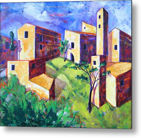 Landscape Metal Print featuring the painting Villa by Rollin Kocsis