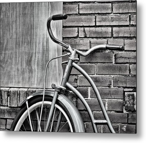 Greg Jackson Metal Print featuring the photograph Vintage Montgomery Ward Bicycle 6 - B/w by Greg Jackson
