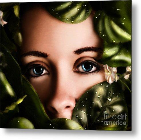 Eyes Metal Print featuring the digital art Watching by Laurie Hasan