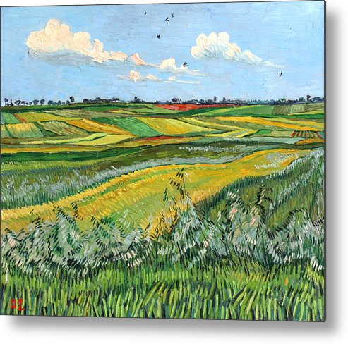 Wheat Metal Print featuring the painting Wheat Fields And Clouds by Vitali Komarov