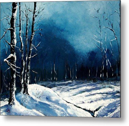 Landscape Metal Print featuring the painting Winter Landscape by Veronique Radelet