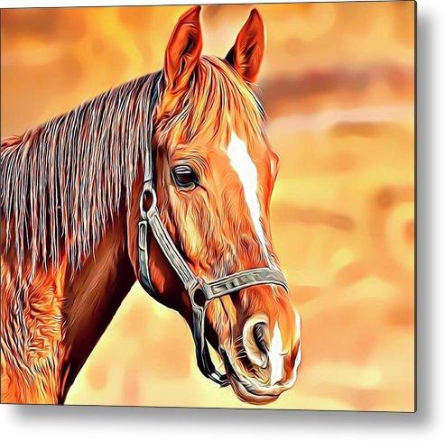 Horse Metal Print featuring the digital art Golden Horse by Russell Carter