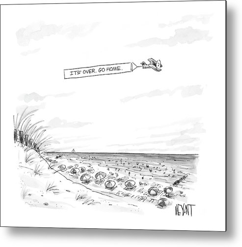 Seasons Summer Seashore  (plane Flying Over Crowded Beach With Message That Reads Metal Print featuring the drawing New Yorker September 12th, 2005 by Christopher Weyant
