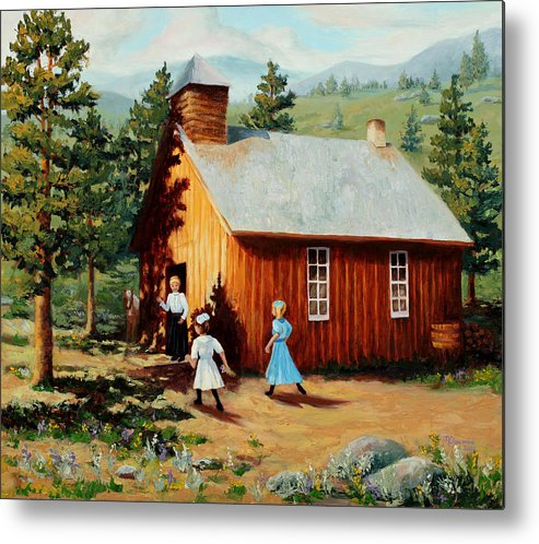 1800's Metal Print featuring the painting 1896 School House by Mary Giacomini