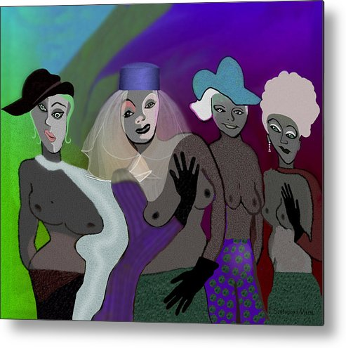 Woman Metal Print featuring the painting 255 - Crazy Women .... by Irmgard Schoendorf Welch