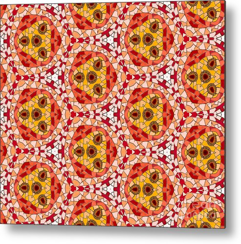 Abstract Metal Print featuring the photograph Seamlessly Tiled Kaleidoscopic Mosaic Pattern by Stephan Pietzko