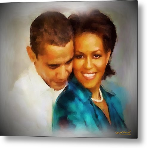 Barack Obama Metal Print featuring the painting Barack And Michelle by Wayne Pascall