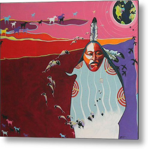 Native American Metal Print featuring the painting Creation by Joe Triano