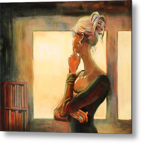 Woman Metal Print featuring the painting Daydreaming by Sue Darius