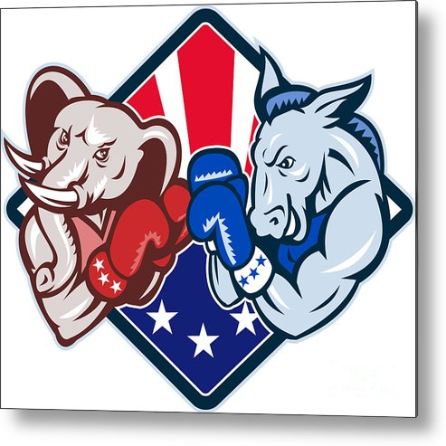 Donkey Metal Print featuring the digital art Democrat Donkey Republican Elephant Mascot Boxing by Aloysius Patrimonio