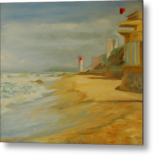 Light House On Near Durban Metal Print featuring the painting Durban Light House by Thomas Bertram POOLE
