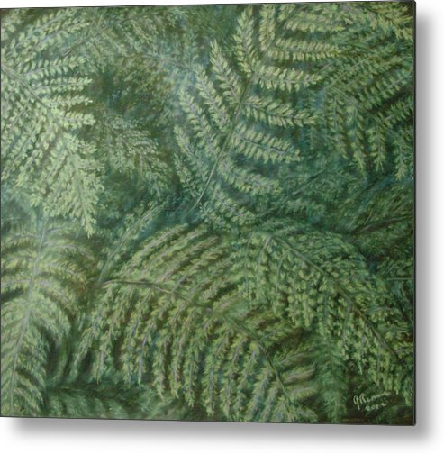 Pastel Metal Print featuring the pastel Fern Frenzy by Joann Renner