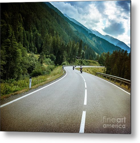 Alps Metal Print featuring the photograph Group Of Bikers On Mountainous Road by Anna Om