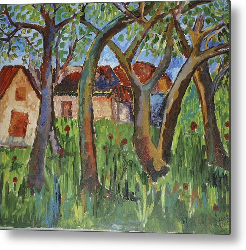 House Metal Print featuring the painting House Near Poppy Field by Goldy Berry Rod