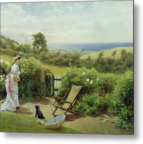 In The Garden Metal Print featuring the painting In The Garden by Thomas James Lloyd
