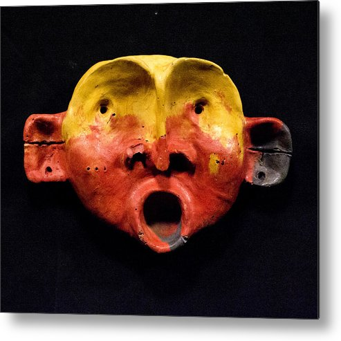 Wall Sculpture Metal Print featuring the sculpture Nico Yellow And Red Mask by Mark M Mellon