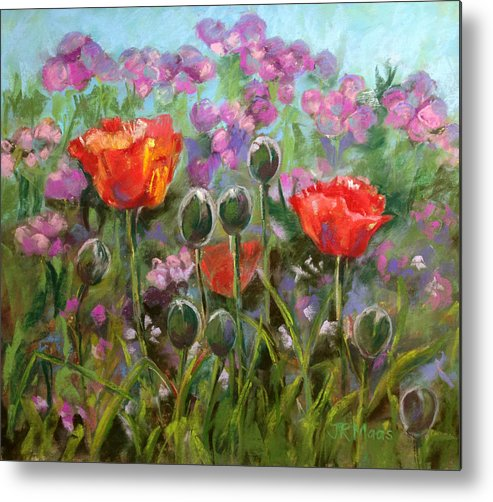 Red Poppies And Poppy Buds Metal Print featuring the pastel Red Poppies by Julie Maas