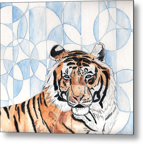 Tiger Metal Print featuring the painting Royal Mysticism by Crystal Hubbard
