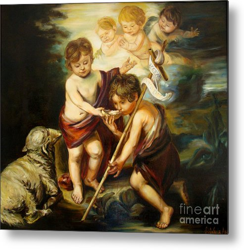 Classic Art Metal Print featuring the painting Saint John Baptist by Silvana Abel