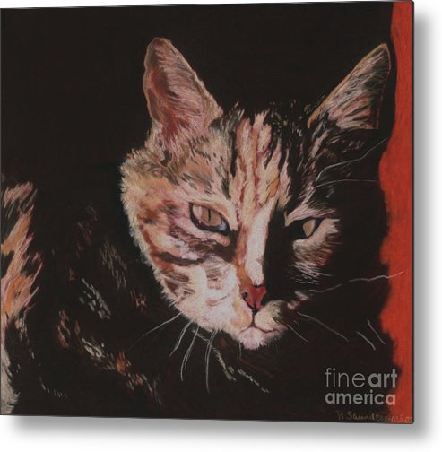 Pat Saunders-white Pet Portraits Metal Print featuring the painting Sasha by Pat Saunders-White