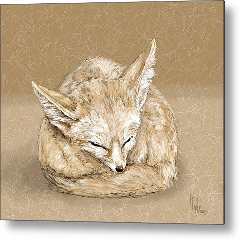 Fox Metal Print featuring the digital art Sleepy Fox by Hannah Taylor