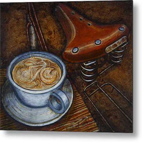 Coffee Metal Print featuring the painting Still Life With Ladies Bike by Mark Howard Jones