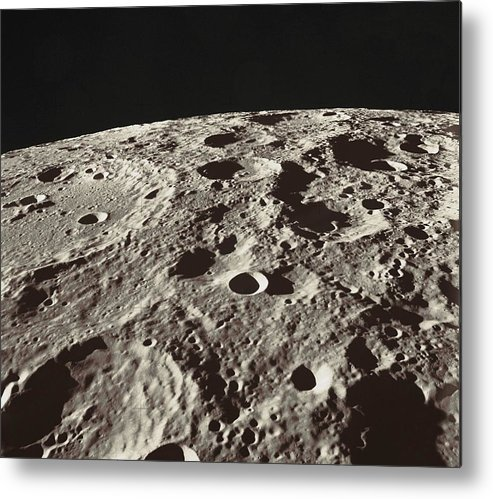 Moon Metal Print featuring the photograph Lunar Surface by Nasa
