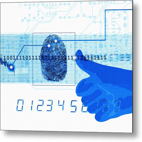Technology Metal Print featuring the photograph Fingerprint Scanning by Mehau Kulyk
