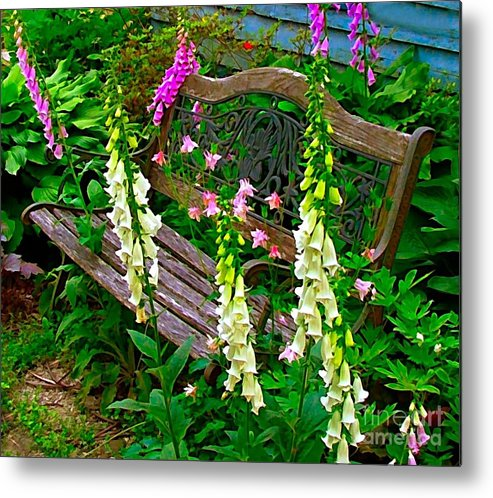 Foxglove Flowers Metal Print featuring the photograph Bench Among The Foxgloves by Julie Dant