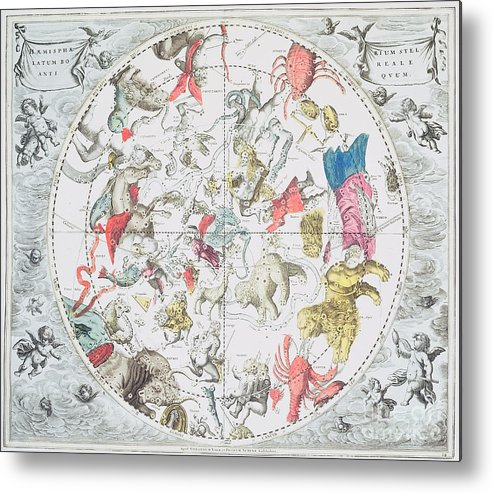 Celestial Planisphere Showing The Signs Of The Zodiac Metal Print featuring the drawing Celestial Planisphere Showing The Signs Of The Zodiac by Andreas Cellarius