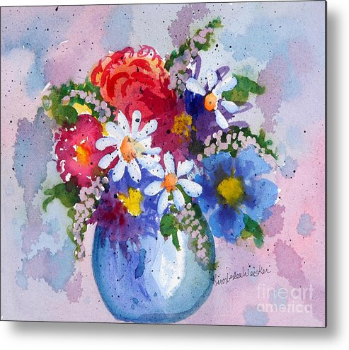 Daisies Metal Print featuring the painting Company Again by Kimberlee Weisker