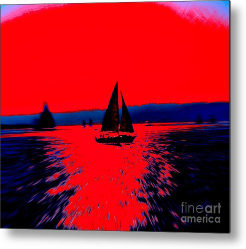 Sailing San Diego Bay Digital Photo Abstract Bold Contrast Red Blue Sailboats Metal Print featuring the photograph Freedom by RJ Aguilar