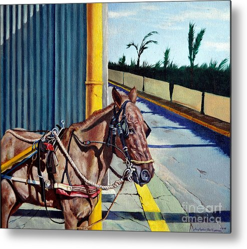 Horse Metal Print featuring the painting Horse In Malate by Christopher Shellhammer