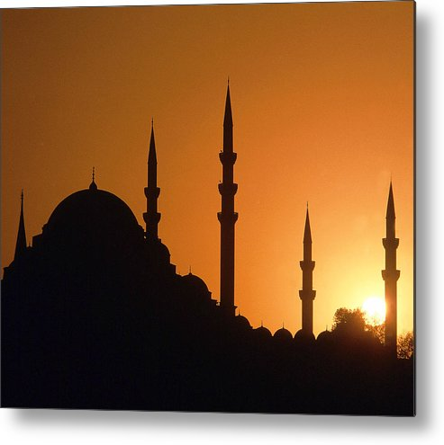 Horizontal Metal Print featuring the photograph Mosque Hagia Sofia At Sunset, Istanbul, Turkey by Hans-Peter Merten