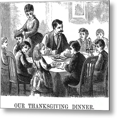 1873 Metal Print featuring the photograph Thanksgiving Dinner, 1873 by Granger