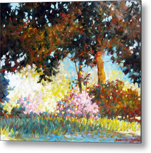 Landscape Metal Print featuring the painting Azaleas by Kevin Lawrence Leveque