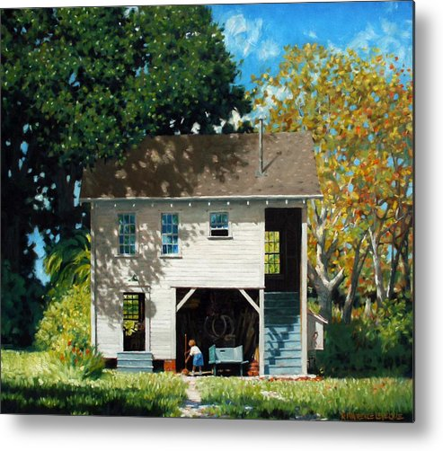 City Metal Print featuring the painting Handy Broom by Kevin Lawrence Leveque