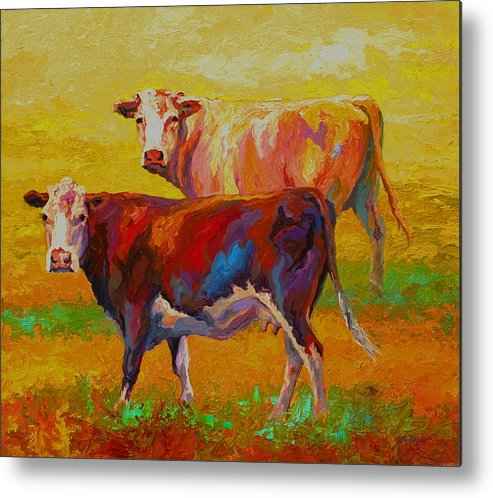Cows Metal Print featuring the painting Two Cows by Marion Rose