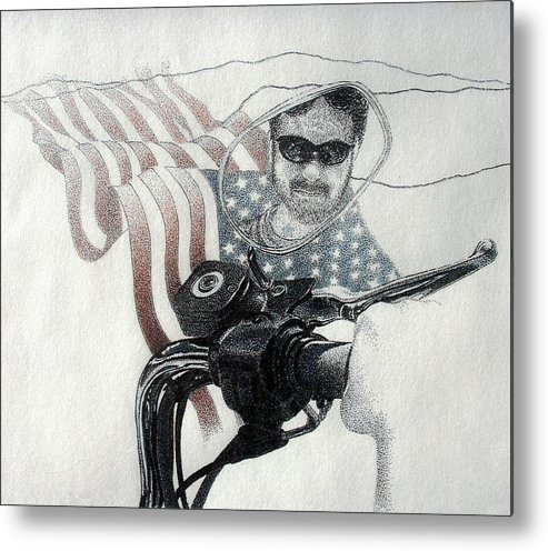 Motorcycles Harley American Flag Cycles Biker Metal Print featuring the drawing American Rider by Tony Ruggiero