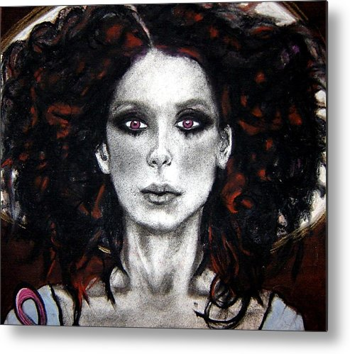 Angel Metal Print featuring the drawing Angel With Ribbon - Face by Chrissa Arazny- Nordquist