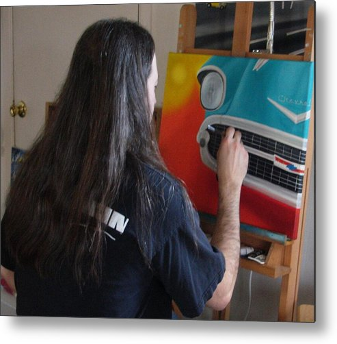 Artist Jimmy Carender Painting Studio Easel Brushes Paints Canvas Art Supplies Home Decor Portrait Art Metal Print featuring the photograph At Work by Jimmy Carender