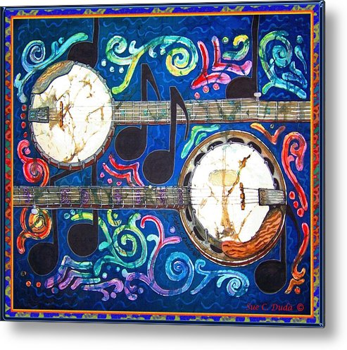 Banjo Metal Print featuring the painting Banjos - Bordered by Sue Duda
